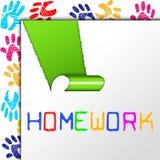 Os trabalhos de casa da escola mostram o treinamento da universidade e aprendem-no Imagens de Stock