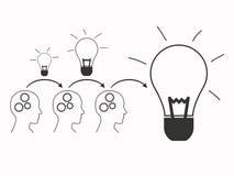 Os trabalhos de equipa constroem a ideia grande ilustração stock