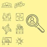 Os trabalhos de equipa do negócio que teambuilding a linha fina ícones trabalham a gestão do comando Imagem de Stock Royalty Free