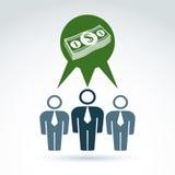 Os trabalhos de equipa e o negócio team com ícone do dinheiro do dólar, vetor ilustração stock