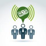 Os trabalhos de equipa e o negócio team com ícone do dinheiro do dólar, vetor Foto de Stock Royalty Free