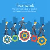 Os trabalhos de equipa modernos do estilo liso, mão de obra, proveem de pessoal o conceito infographic ilustração stock