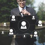 Os trabalhos em rede da rede comunicam o conceito da conexão de uma comunicação foto de stock