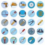 Os trabalhos manuais utilizam ferramentas em volta da linha enchida ícones ilustração do vetor