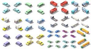 Os transportes ajustaram o projeto isométrico da ilustração do gráfico de vetor do ícone Elementos de Infographic Fotos de Stock Royalty Free
