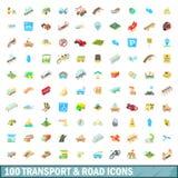 100 os transportes e ícones da estrada ajustaram-se, estilo dos desenhos animados Imagens de Stock Royalty Free