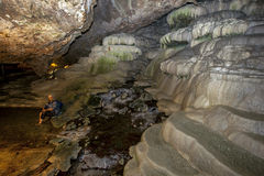 Os travertinos subterrâneos em Kakilik cavam perto de Denizli em Turquia central Foto de Stock Royalty Free