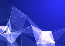 Os triângulos luminosos formam uma figura no estilo do origâmi Fundo para o azul da inscrição ilustração stock
