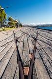 Os trilhos modelam no porto Augusta Fotos de Stock