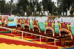 Os trjineras famosos do xochimilco, Cidade do México imagens de stock