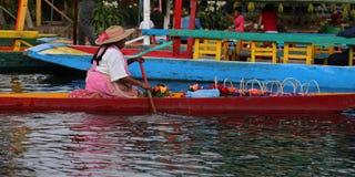 Os trjineras famosos ou os barcos da parte inferior lisa do xochimilco, Cidade do México fotos de stock
