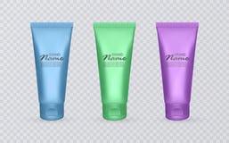 Os tubos cosméticos coloridos, moldes cosméticos, aprontam-se para o projeto, moldes cosméticos com cores do arco-íris ilustração stock