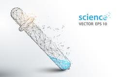 Os tubos de análise laboratorial da ciência formam linhas e projeto do estilo da partícula ilustração royalty free