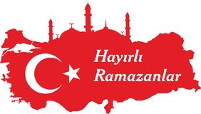 Os turcos felizes de ramadan falam: Hayirli ramazanlar ilustração stock