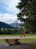 Os turistas admiram a paisagem no pé da montagem Robson imagem de stock