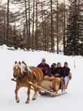 Os turistas apreciam um passeio Cavalo-Desenhado do trenó Fotos de Stock