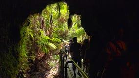 Os turistas inscrevem Thurston Lava Tube na nação dos vulcões de Havaí Foto de Stock