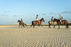 Os turistas montam a cavalo, Jericoacoara, Brasil Fotos de Stock Royalty Free