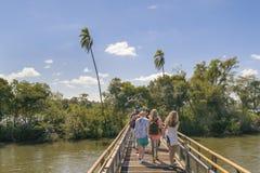 Os turistas que cruzam a ponte que vai à garganta do diabo caem imagem de stock