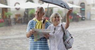 Os turistas superiores felizes estão do centro e apreciam o tempo chuvoso em Lviv video estoque