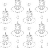 Os unicórnios preto e branco dos desenhos animados bonitos com vetor sem emenda do verão do flutuador modelam a ilustração do fun ilustração royalty free