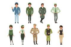 Os uniformes militares ajustaram-se, oficial de exército militar, comandante, soldado, piloto, soldado, ilustrações do vetor do c ilustração stock