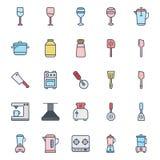 Os utensílios da cozinha isolaram o grupo do ícone do vetor podem facilmente ser alterados ou editar o grupo isolado utensílios d ilustração stock