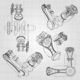 Os vários componentes de motor, pistões, correntes, bocais e válvulas são descritos sob a forma das linhas e dos contornos 3d ilustração stock