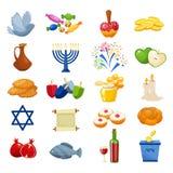 Os vários símbolos e artigos dos ícones lisos da celebração de hanukkah ajustados isolaram a ilustração do vetor ilustração stock