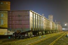 Os vagões que estão nos trilhos, o estação de caminhos-de-ferro Skyline da cidade da noite Fotografia de Stock Royalty Free