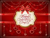 Os Valentim cardam com corações e curva vermelha Imagem de Stock