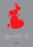 Os Valentim cardam com corações vermelhos Imagem de Stock