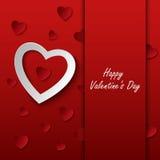 Os Valentim cardam com corações vermelhos no fundo Fotografia de Stock Royalty Free