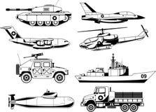 Os veículos da guerra detalharam o grupo do ícone ilustração do vetor