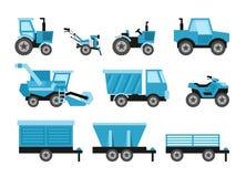 Os veículos de colheita agrícolas ajustaram-se com o trator que colhe o reboque ilustração royalty free