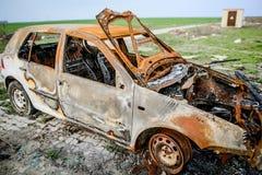 Os veículos do carro queimaram o seguro foto de stock