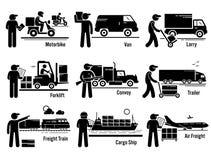 Os veículos logísticos do transporte ajustaram Clipart ilustração royalty free