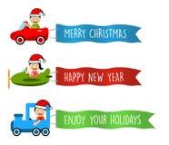 Os veículos voam com as bandeiras longas para o Natal ilustração royalty free