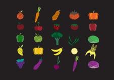Os vegetais ajustaram elementos tirados mão no quadro, ilustrações da garatuja do vetor ilustração do vetor