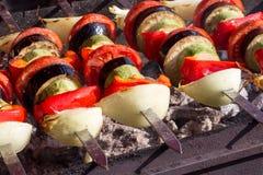 Os vegetais apetitosos são cozidos em carvões quentes fotografia de stock royalty free