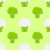 Os vegetais bonitos brócolis, desenhos animados sem emenda do teste padrão da couve-flor eyes, sorrir, feliz Imagem de Stock Royalty Free