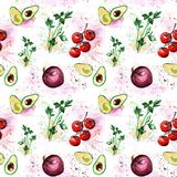Os vegetais da aquarela modelam a salsa, abacate, cherr dos tomates Imagem de Stock Royalty Free
