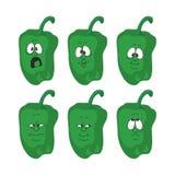Os vegetais da pimenta verde dos desenhos animados da emoção ajustaram 005 Fotografia de Stock Royalty Free