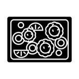 Os vegetais fritaram o ícone, ilustração do vetor, sinal preto no fundo isolado ilustração do vetor