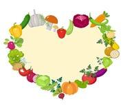 Os vegetais moldam na forma de um coração Estilo liso Isolado no fundo branco Estilo de vida saudável, vegetariano, vegetariano ilustração do vetor