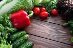 Os vegetais para a salada de couve dos pepinos salpicam, rabanete, em uma tabela de madeira com espaço para o texto imagem de stock royalty free