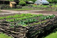 Os vegetais saudáveis no cerco de cerco de madeira, guarnição jardinam, o Jardim do rei, forte Ticonderoga, New York, 2015 Fotos de Stock Royalty Free
