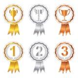 Os vencedores ajustaram 1 - Rosettes do ouro, da prata e do bronze Fotos de Stock Royalty Free