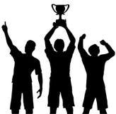 Os vencedores comemoram a vitória do troféu ilustração do vetor