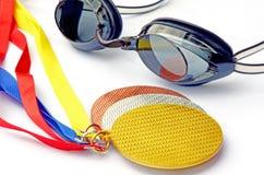 Os vencedores das competições da natação. Imagem de Stock